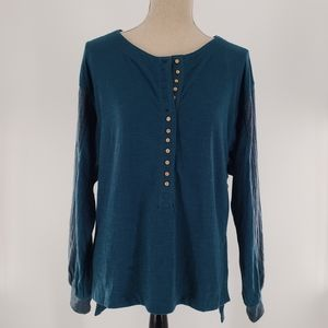 WE THE FREE THERMAL HENLEY SHIRT BLUE